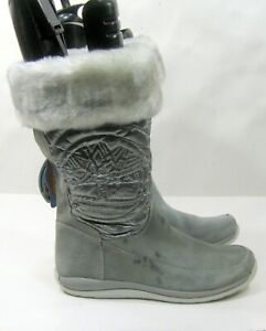 new 32995M  GRAY Timberland  Suede Pull Up MID CALF Boots  WOMEN Size 8.5