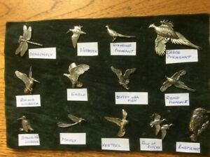 Pewter Pin Badges Brooches Birds and Flies Made in U.K.