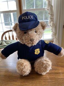 "Gund Police Teddy Bear Brown Blue Uniform 18""Heads and Tales Soft Body"
