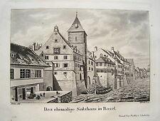 Basel Bale  Salzhaus  Rhein  Schweiz  seltene echte alte  Aquatinta um 1830