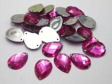 10 Hot Pink Large Jumbo 28mm Tear Drop Rhinestones Gems Flat Back Sew On Bead