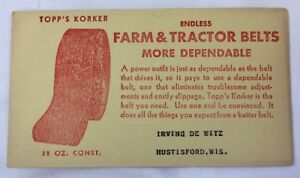 Lot 3 Vintage Ink Blotters Topps Korker Farm & Tractor Belts Hustisford WI 5115F