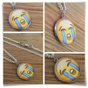 Emoji face smile happy LOL LMAO crying  Charm pendant necklace txt geek