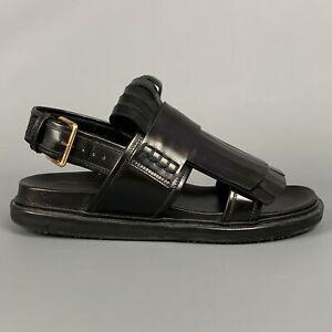 MARNI Fussbett Size 8 / EU38 Black Leather Fringed Sandals