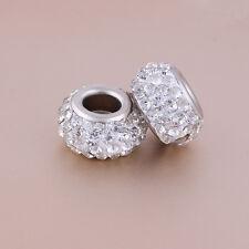 3PC Women Charm Bracelet Necklace White Rhinestone Beads DIY Jewelry Making Kits