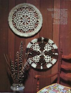 Vtg Macramé Mandala Redondo Colgante Pared Arte Patrón Encantador Libro HH37