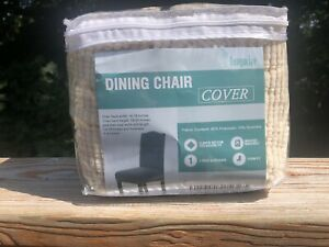 2 Natural Beige Dining Room Chair Covers Stretch Chair Slipcover by Turquoize