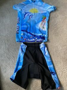 Kids Cycling Jersey Shorts Set Dolphins Size Small