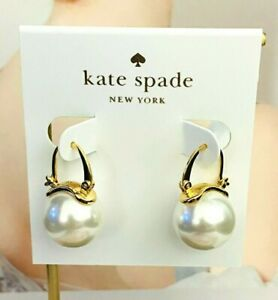 KATE SPADE CLASSIC PEARL STUD EARRINGS White/Gold