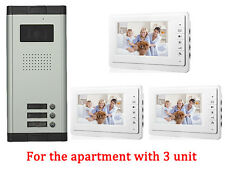 3 Unit Apartment Intercom Entry System 7'' Monitor Audio Wired Video Door Phone