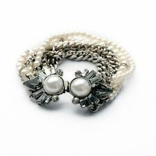 B443 Forever 21 Gatsby Sparkling Rhinestone Pearl Multi Beaded Chain Bracelet US