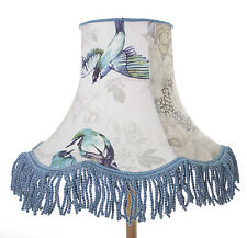 Vintage lampshade in blue Prestigious Textiles bird fabric for standard lamp
