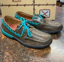 EXCLUSIVE New Women's Twisted X Driving Mocs Shoes Leather Teal Lace