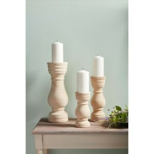 Mud Pie E1 Home Decor Paulownia Wood Candlestick 40960025 Choose Size