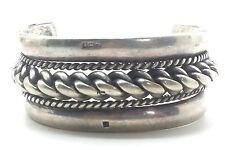 "Wide Egyptian Braided Heavy Cuff  Sterling Silver 925 Bracelet 137g 7"" BMB546"