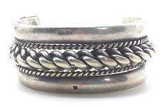 "Wide Egyptian Braided Heavy Cuff  Sterling Silver 925 Bracelet 137g 7"" BMB546"