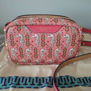TORY BURCH PERRY PINK CORAL SEAHORSE CROSSBODY-EXCLUSIVE COLOR-SOLD OUT