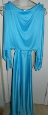 Vintage BERNIE BEE Silky Blue Polyester Belted Goddess '80s FOOTLOOSE Maxi Dress