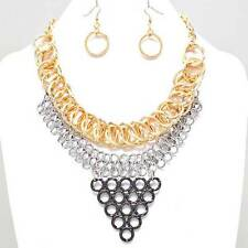 3 Tone Waterfall Necklace Set Interlink Chains Gold Silver Hematite Tone Chunky