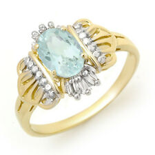 Aquamarine & Diamond Ring 10K Gold