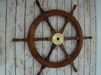 "Wood Ship Wheel ~ Nautical Boat Wooden Brass Steering ~ 12"", 18"", 24"", 36"",48"""