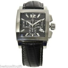 GC GUESS COLLECTION BLACK CROC LEATHER+SILVER TONE DIAL+CHRONO WATCH GC35005G