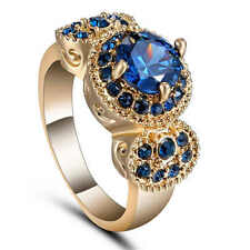New 18K yellow gold filled blue Sapphire fashion jewelry wedding ring size 7