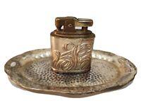 Lot Of 2 Vintage Working Lighter & Ashtray / Ornate / Occupied Japan