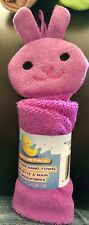 New Baby Bath Time Animal Washcloth Microfiber Hand Towel Purple Bunny