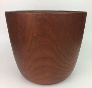 Hand Carved Teak Turned Wood Planter Bowl