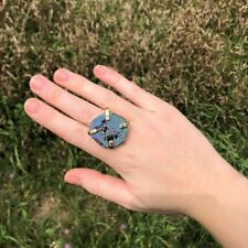 peacock ore- size 6.5 and up Adjustable gold iridescent crystal ring made from