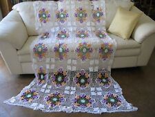 Vintage Crochet White Purple Orange Floral Pansy Queen Full Twin Bedspread 50x86
