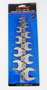 """10pc CAL-HAWK 3/8"""" DRIVE FULLY POLISHED CROWFOOT RATCHET WRENCH SAE ACWCF10"""