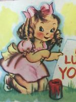 Vintage Valentines Day Card Little Girl Blonde Pink Dress 40s Squirrels Painting