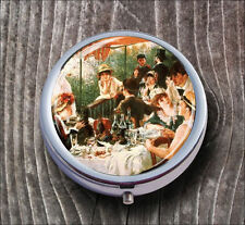 RENOIR CLASSIC ART LUNCHEON OF THE BOATING PARTY PILL BOX ROUND METAL -b4t5m