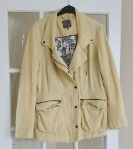 NEXT  Yellow Textured Spring Summer Lined Cotton Jacket Coat 3 pockets Size 16