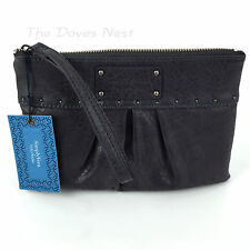 SIMPLY VERA WANG Pleated DARK GRAY WRISTLET Faux SNAKESKIN CLUTCH Jet Grey STUDS