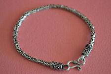 """925 Sterling Silver Men's Braided Snake Chain Bracelet - 8"""" Men Bracelet 12.7gr"""