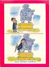 N°51 Picture Without words  Statue Caricature Berlin Berliner Humor CARD 50s
