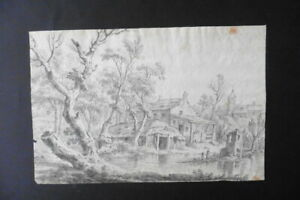 ITALIAN-BOLOGNESE SCHOOL 18thC - ANIMATED LANDSCAPE SIGN. MARTINELLI - CHARCOAL