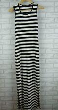 CHARLIE BROWN Maxi Dress Sz 8 Black n White Stripe