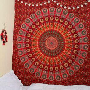 Tapestry Hippie Orange Indian Mandela Wall Hanging Bedding Queen Home Decor New