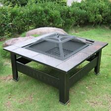 Outdoor Fire Pit Table Patio Deck Backyard Heater Fireplace W/Cover & Poker J6H6