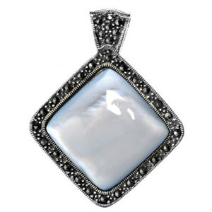 Sterling Silver Classic Studded Square Pendant Simulated Mother of Pearl Charm