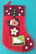 Christmas Stocking Felt & Appliqué Tree Glove Star Ice Skate Red Green White