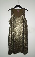 NWT Vince Camuto Utility Bill Bronze Gold (Military Green) Sequin Tank Dress L