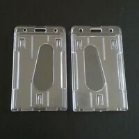 2X Transparent Vertical Hard Plastic ID Badge Holder Double Card Case Convenient