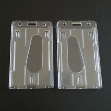2*Transparent Vertical Hard Plastic ID Badge Holder Double Card Case CY2Z