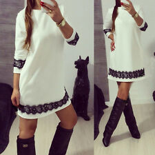 USA WHITE LACE Women Casual Cocktail Dress Ladies Evening Party Tunic Mini Dress