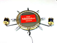 Old Milwaukee beer sign lighted reverse glass mirror nautical ship light GB1